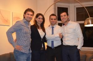 Het bestuur van het Joods Jongeren Fonds, vlnr: Benjamin Gotlieb, Rosalie van Gelder, Joël Serphos, Chaggai Kon