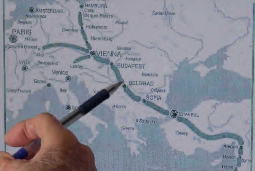 Route van transport 222 vanuit Celle bij Bergen-Belsen naar Haifa