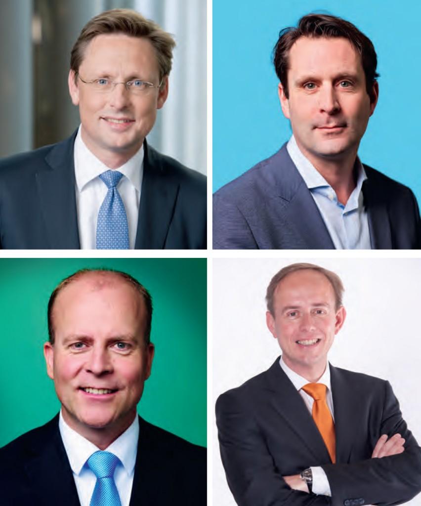 Vanaf linksboven met de klok mee: Han ten Broeke (VVD), Michiel Servaes (PvdA), Kees van der Staaij (SGP) en Raymond Knops (CDA)