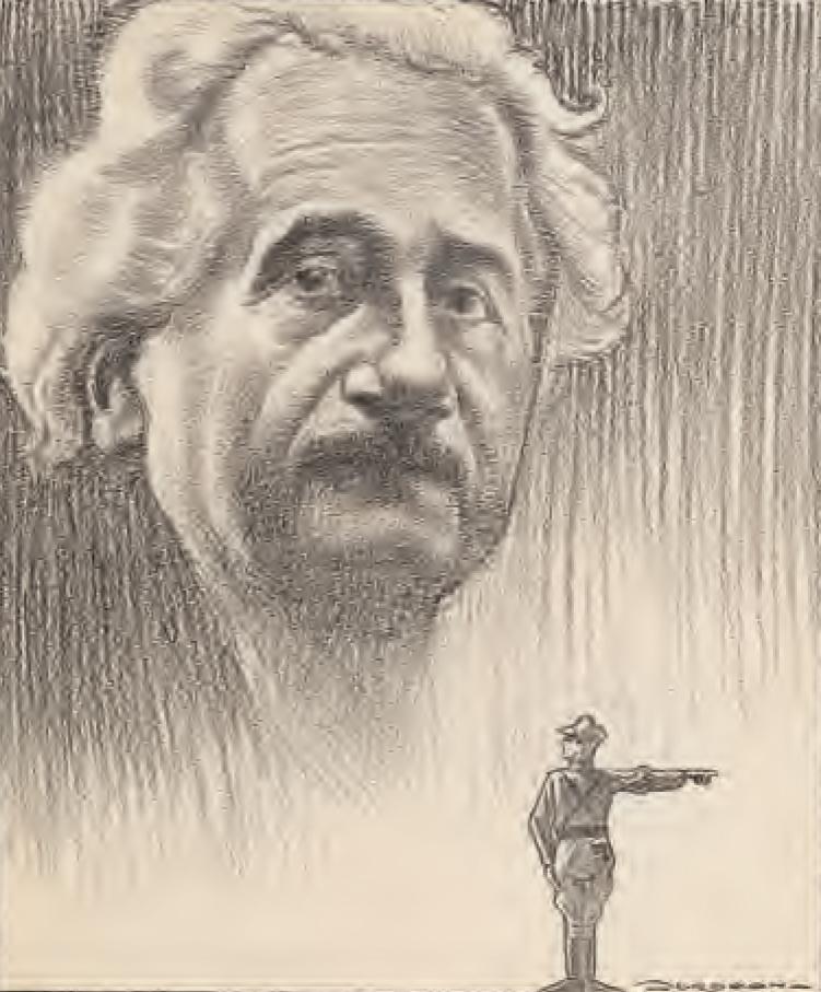 Cartoonist en filmcriticus Leo Jordaan maakte voor en tijdens de oorlog diverse politieke prenten in De Groene Amsterdammer, zoals deze van Albert Einstein, ten bate van het 'Financieele Comité voor de Joodsche vluchtelingen'