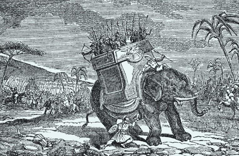 Eleazar doodt de strijdolifant van de Seleucidische keizer. Duitse gravure uit 1853, foto: University of South Florida