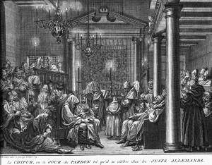 Prent Jom Kipoer in de Obbene Sjoel te Amsterdam, Bernard Picart, 1725.  Collectie Joods Historisch Museum Amsterdam