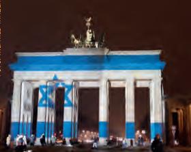 De Brandenburger Tor met de Israëlische vlag erop geprojecteerd. Foto: Wilfried Winzer